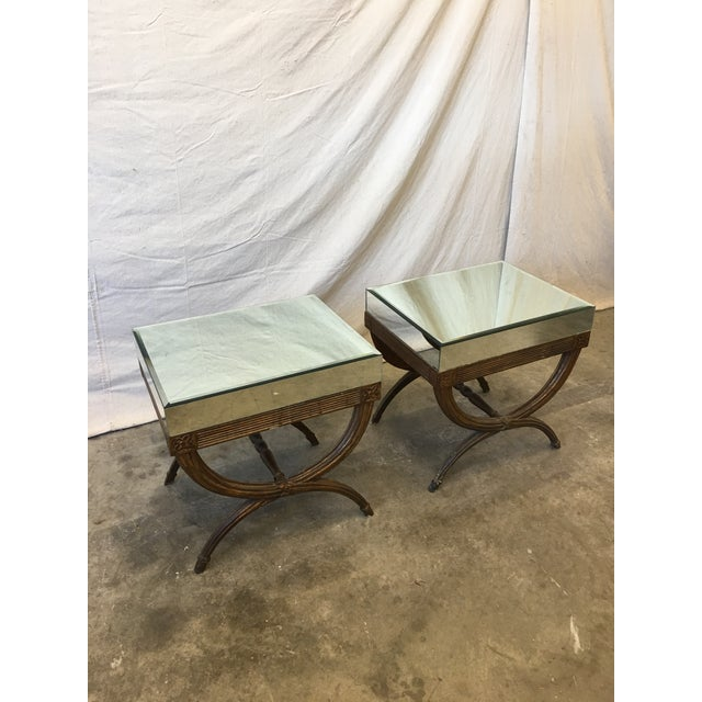 Wood Continental Directoire Curule Mirrored Side Tables - a Pair For Sale - Image 7 of 9