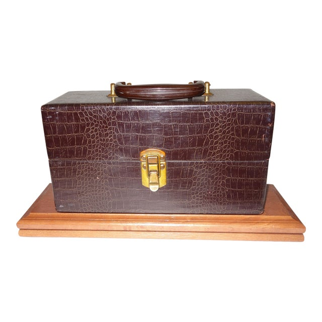 Vintage Cinema Equipment Carry Case. Patterned Croc Canvas on Wood, 1940s Artifact For Sale