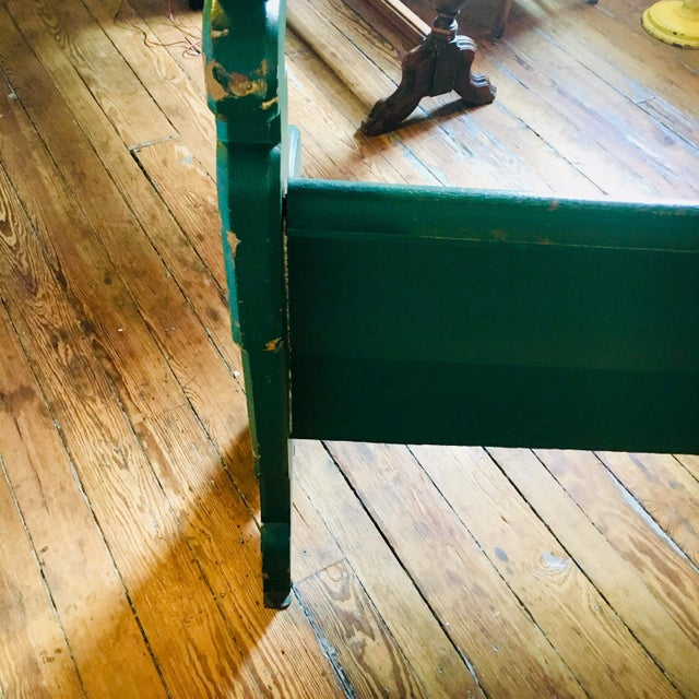 Late 19th Century Vintage Emerald Green Vernacular Gothic Pew For Sale In Baltimore - Image 6 of 11
