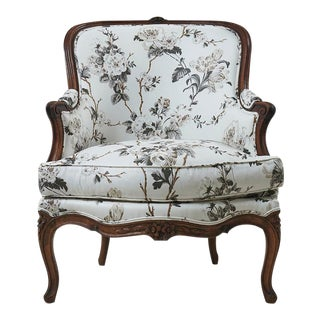 Late 19th Century French Bergère Upholstered in Schumacher Fabric For Sale