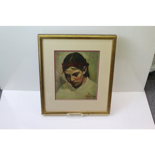 Paint 1970s Vintage Christopher Zhang Mimi With Red Ribbon Painting For Sale - Image 7 of 8