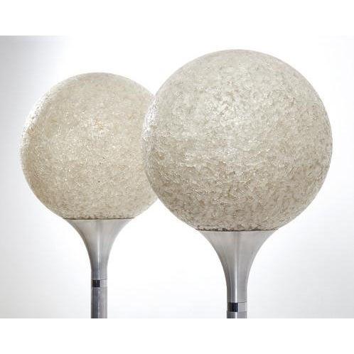 Pair of White Mosaic Glass and Aluminum Column Standing Lights Italian circa 1960's Measurements Height - 142 cms Depth -...