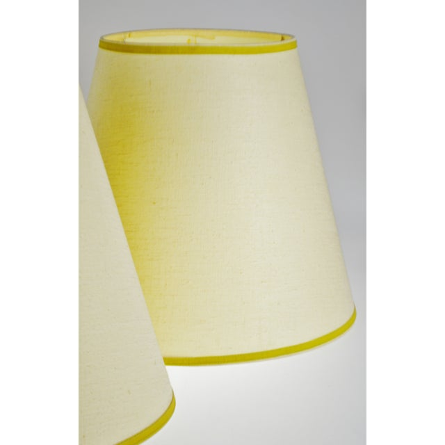 Early 21st Century Vintage Bell Shape Linen Fabric Lamp Shades - a Pair For Sale - Image 5 of 12