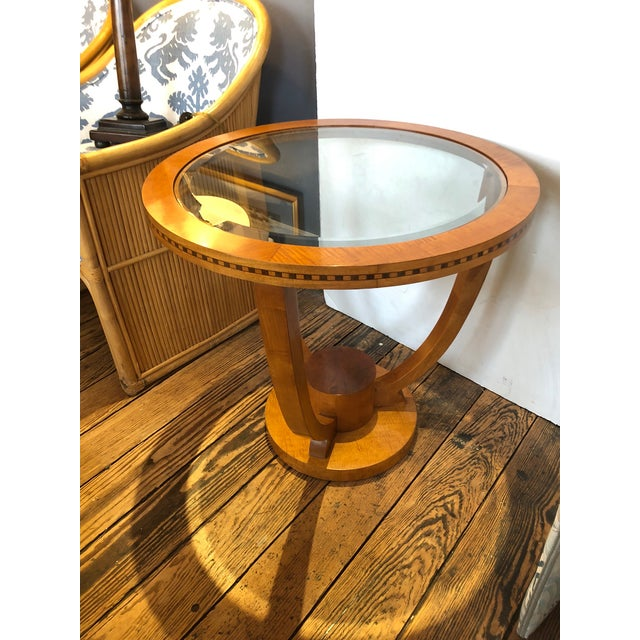 Art Deco Wood and Bevelled Glass Round End Table For Sale - Image 4 of 7