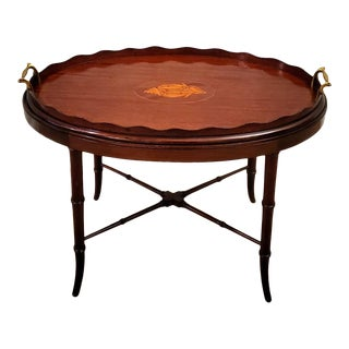 Antique Georgian III Period Mahogany Inlaid Butler Tray Table For Sale