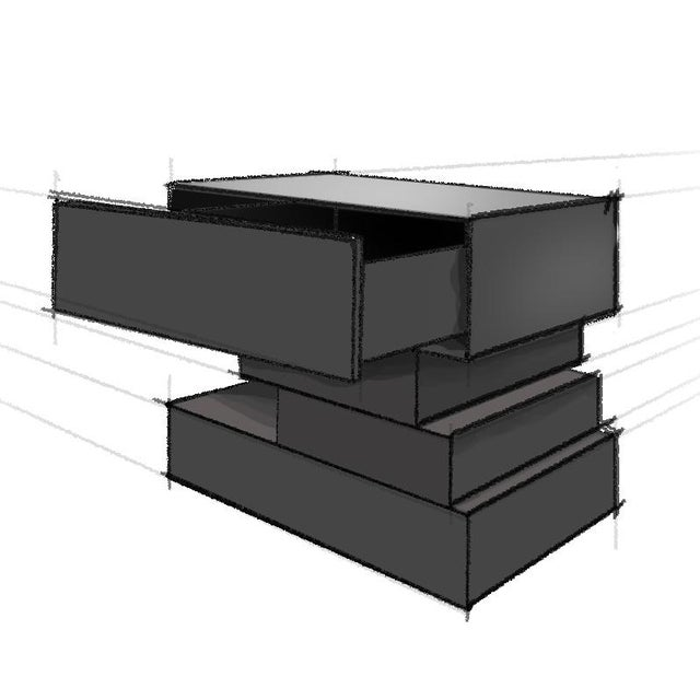 Contemporary Nightstand - Solid Blackened Steel For Sale - Image 3 of 4