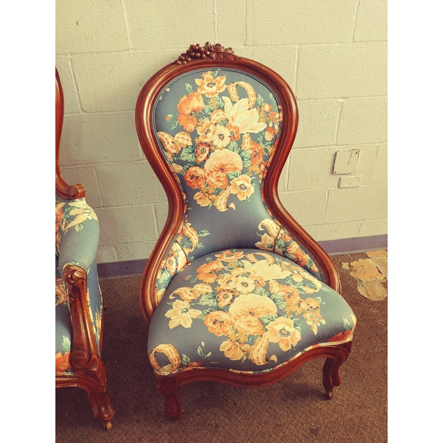 Baby Blue Antique Slipper Chairs & Ottoman, 3 Pieces For Sale - Image 8 of 10