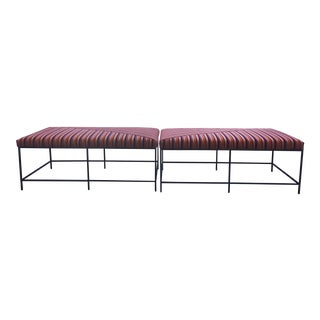 Schumacher Striped Velvet Benches - a Pair For Sale