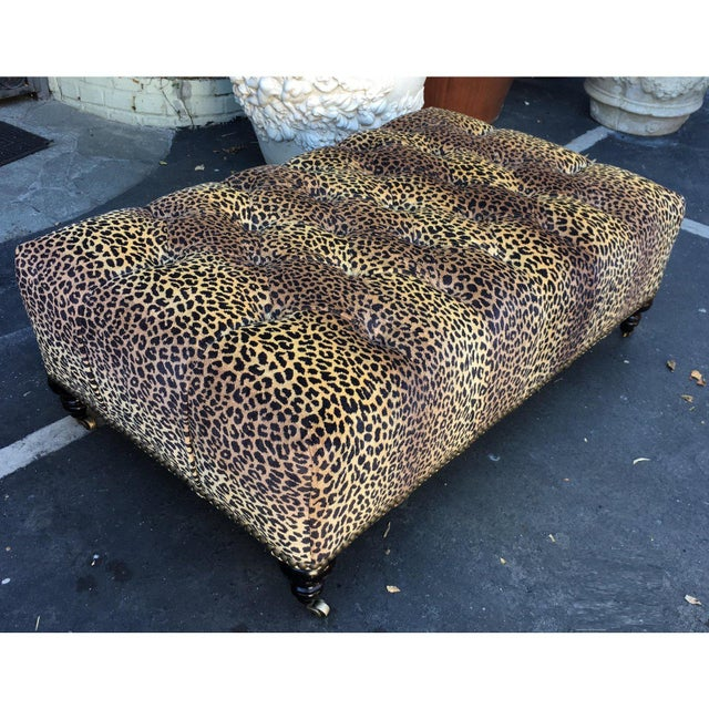 1990s Superb Clarence House Designer Cheetah Leopard Tufted Ottoman For Sale - Image 5 of 5
