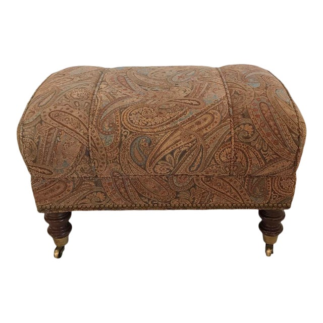 Vintage Mid Century Upholstered Ottoman by Sherrill Furniture For Sale