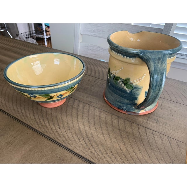 Vintage French Country Hand-Painted & Glazed Terra Cotta Pottery Pitcher Jug & Bowl Set- 2 Pieces For Sale - Image 4 of 13
