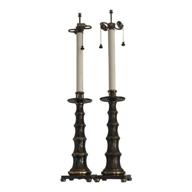 Vintage Stiffel Lamps >> Vintage Stiffel Faux Bamboo Lamps A Pair Chairish