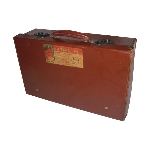 Vintage English Brown Leather Suitcase - Image 1 of 11