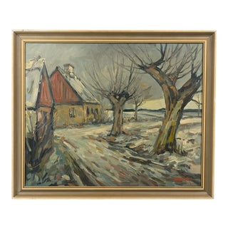 Mid-C. Rural Cabin in the Snow Expressionist Landscape For Sale