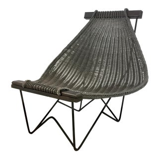 Studio a Industrial Modern Spinnaker Faux Rattan Gray Lounge Chair For Sale