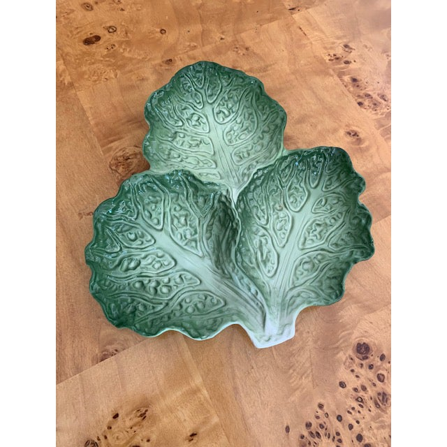 """Lovely green lettuce leaf plate with 3 sections. Makers mark is """"Paris Royal"""". In perfect condition."""