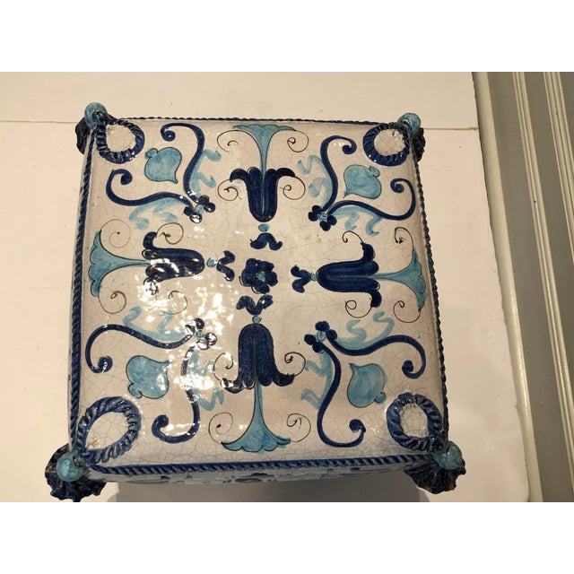 Ceramic Italian Blue and White Ceramic Garden Seat/Side Table For Sale - Image 7 of 12