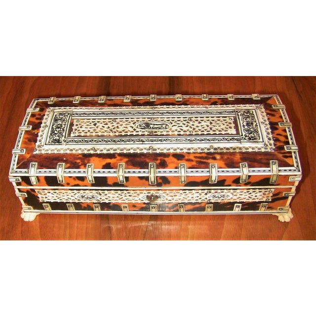 Wood 19c Anglo Indian Vizagapatam Bone and Shell Glove Box For Sale - Image 7 of 7