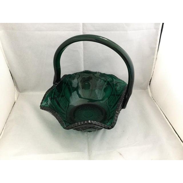 Glass 1990s Vintage Glass Wedding Basket For Sale - Image 7 of 7