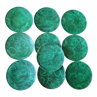 1960s Vintage Piero Fornasetti Malachite Set of Porcelain Plates - Set of 10 For Sale