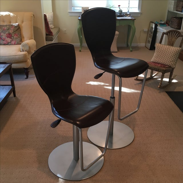 Brown Leather Adjustable Stools - a Pair - Image 2 of 11