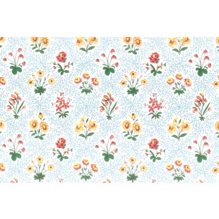 Vintage Bassett McNab Blue Floral Lattice Wallpaper - 10 Yard Roll For Sale