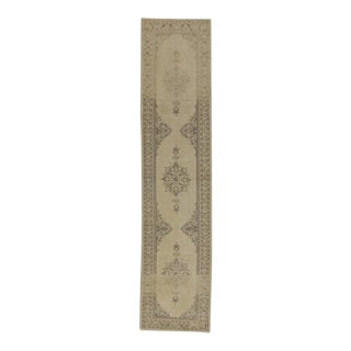 Vintage Turkish Oushak Runner with Muted Colors