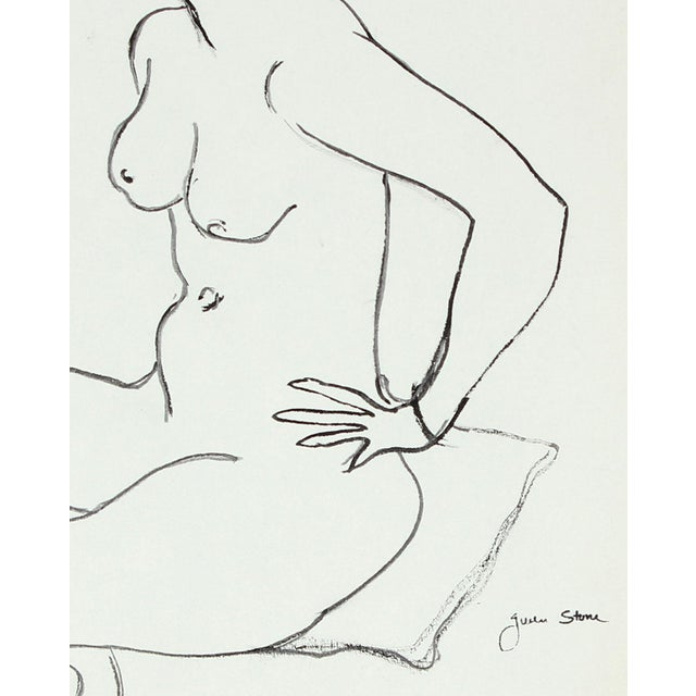 This late 20th century ink on paper nude is by Northern California artist, poet, and playwright Gwen Stone (1913-2007)....