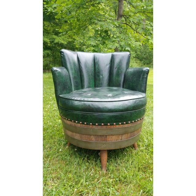 Whiskey Barrel Naugahyde Swivel Chair - Image 2 of 4