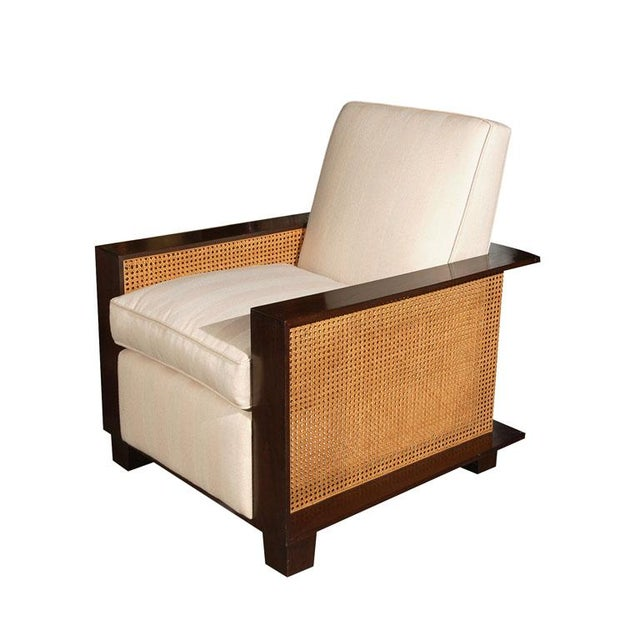 White Paul Marra Max Walnut & Cane Club Chair For Sale - Image 8 of 8