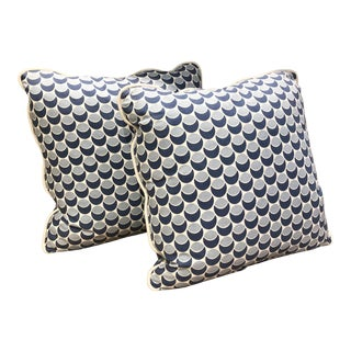 Contemporary Blue & White Dot Pillows- a Pair For Sale