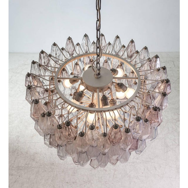 Mid-Century Modern Pair of Carlo Scarpa Extra Large 245 Murano Glass Pieces 'Poliedri' Chandeliers For Sale - Image 3 of 10