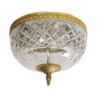 Cut Crystal wtuItalian Flush Mount Light Fixture - from Waldorf Astoria For Sale