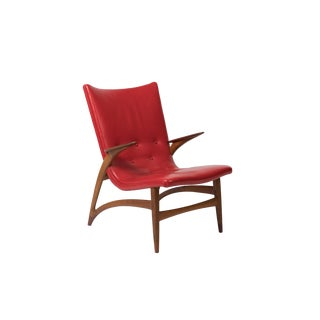 J L Moller Red Leather and Teak Lounge Chair For Sale