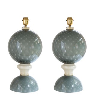 Murano Glass Table Lamps - A Pair For Sale