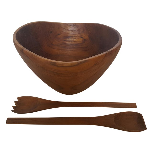 Thailand Teak Bowl With Servers - Image 1 of 4