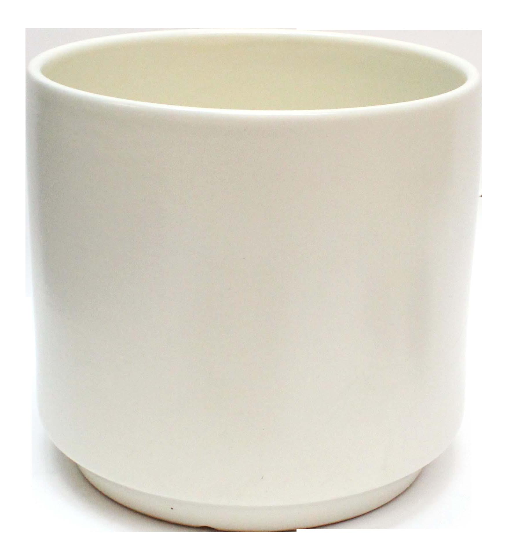 Modern White Pottery Cylinder Planter Chairish