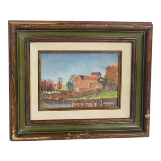 1983 Baxter Barn Framed Oil on Board Painting For Sale