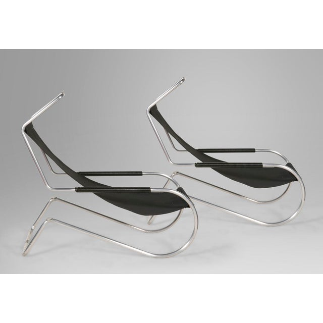 "1950s Pair of Giudici ""Lido"" Deckchairs For Sale - Image 5 of 6"