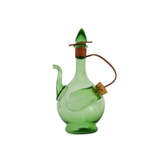 Vintage Hand Blown Italian Green Glass Wine Decanter Carafe With Ice Chamber Chiller and Stoppers Preview