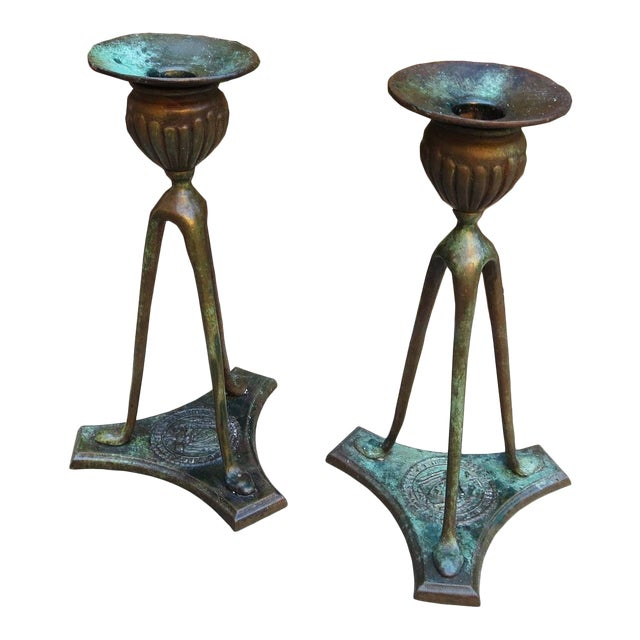 Tiffany Bronze Candlesticks 1906 For Sale