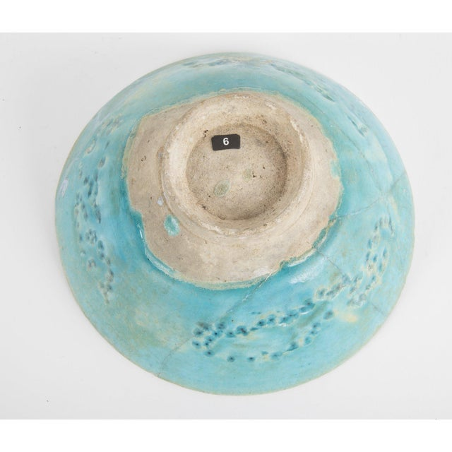 Footed Conical Form Kashan Turquoise Glazed Pottery Bowl For Sale In New York - Image 6 of 8