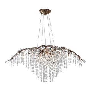 """Gold and Crystal Brass Tree Branch Chandelier """"Autumn Twilight"""" For Sale"""