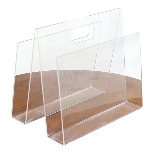 Mid-Century Modern Bent Lucite Magazine Rack For Sale - Image 6 of 6