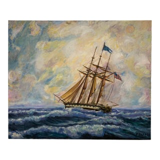 Large Signed Nautical Ship Painting For Sale