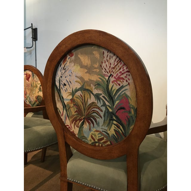 Italian Tapestry & Leather Wood Arm Chairs - Set of 8 For Sale - Image 5 of 10