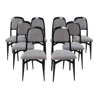Set of Eight Italian Modernist Black Frame Dining Chairs