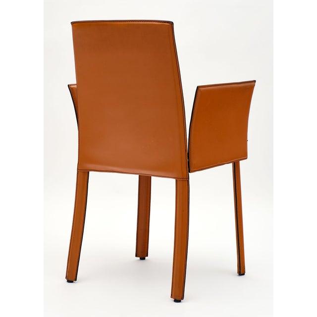 Vintage Modernist Orange Leather Armchairs - a Pair | Chairish