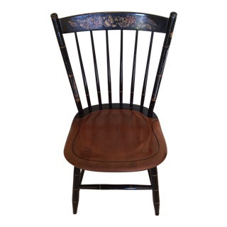 Hitchcock Country Side Chair in Black With Harvest Stained Seat For Sale