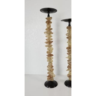 Vintage Hand Blown Glass and Metal Candle Holders- Set of 3 Preview